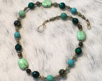 Multi-stone Necklace in shades of Green