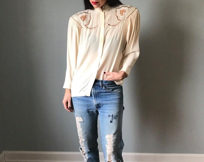 Vintage Embellished Silk Cream High Neck Blouse