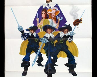 THE THREE MUSKETEERS original 1974 movie poster Raquel Welch Oliver Reed Michael York Faye Dunaway