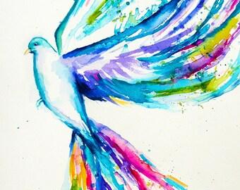 Dove Watercolor Art, Original Artwork, Original Watercolor Painting, Dove Painting, Bird Art, Bird Watercolor, Bird Painting, White Dove