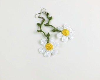 Crochet Earrings Daisy Earrings Crochet Flower Earrings Fashion Earrings Dangle Earrings Floral Earrings Handmade Earrings Gifts For Her