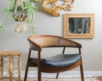 Vintage Mid Century Curved Cane Back Chair