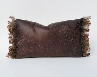 Feather-Trimmed Faux Leather In Distressed Brown Pillow Cover