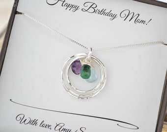Mothers birthstone necklace, Gift for mom jewelry, 3 Birthstone necklaces, 3 Sister necklace, Mothers jewelry, Family necklace,3 Best friend