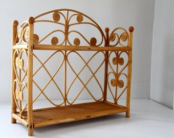 Vintage Rattan Shelf Two Tier Fiddlehead Design Curled Peacock Boho Decor Wall Hanging Natural Texture