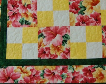 Baby Girl Quilt, Spring Floral, Hibiscus Blanket, Tropical Flowers, Baby Shower Gift, Pink and Yellow, Wheelchair Quilt, Handmade in Hawaii