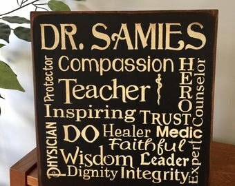 Personalized Doctor Physician DO Typography Wooden Primitive Sign