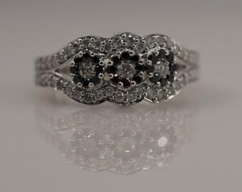 Black White Diamond Three 3 Stone Halo Ring Engagement Unique Unusual 10k White Gold