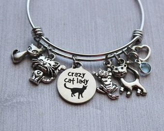 Crazy Cat Lady Bracelet, Cat Lovers Bracelet, Cat Bracelet, Cat Charms, Cat Lovers Jewelry, Cat Lovers Bangles, Cat Pendant Jewelry, Cat