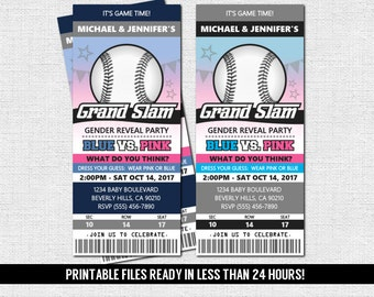 GENDER REVEAL TICKET Invitation Baseball Baby Shower Party (print your own) Personalized Printable Files - Admit One
