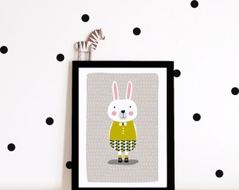 Nursery decor, nursery wall art, Kids room art print, nursery poster, Bunny art print, bunny poster, kids poster