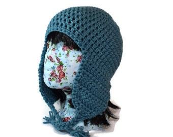 Womens Blue Earflap Hat - SALE - Blue Trapper Hat - Blue Winter Hat - Crocheted Earflap Hat - Teens Gift  - Teens Winter Hat - Gifts For Her