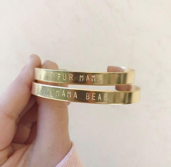Fur Mama, Mama Bear, CUSTOM Handstamped Cuff Bracelet