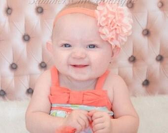 SALE - Peach Baby Headband, Baby Headband, Infant Headband, Newborn Headband, Toddler Headband, Girl Headband, Peach Chevron Baby Headband