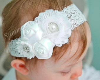 White Baptism Headband, Infant Headband, Newborn Headband, Christening Headband, White Baby Headband, Chiffon and Satin Flower Headband