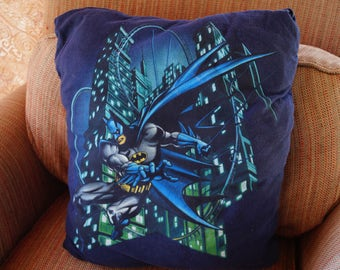 Batman throw pillow, batman pillow, batman home decor, superhero pillow, child's room decor,  gotham, decorative pillow