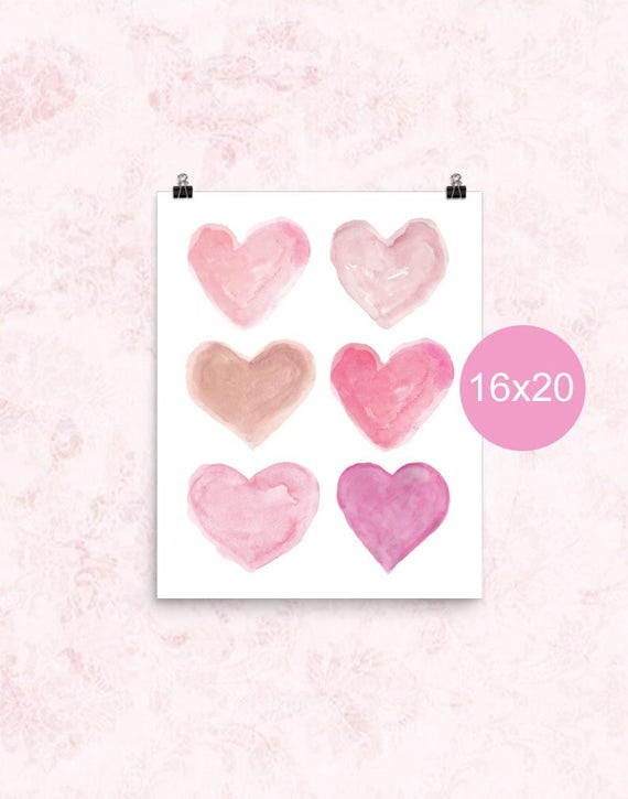 Girls Heart Poster in Pink, 16x20, 12x16