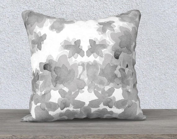 "Gray Floral Pillow Case in Velveteen, 14""x20"" 18""x18"""