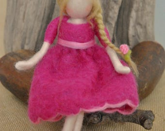 Wool Doll Home decor needle felted /Room Decoration /Home Ornament: Girl with braid