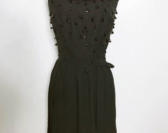 Beautiful Vintage 1960s Black Bead & Sequin Cocktail Dress, Size S-M