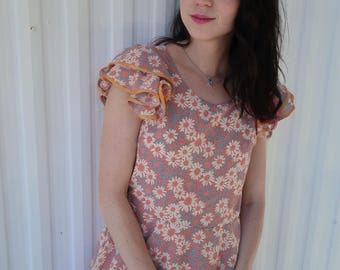 Pink Daisy Floral Layered Dress with Dots and Ruffled Sleeves Lolita Retro