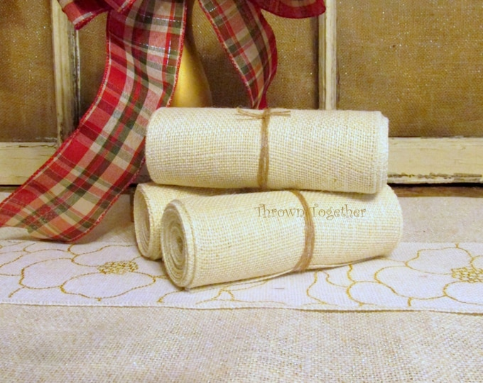 "Cream Burlap 6"" Wide Burlap, Ivory Burlap, Off White Burlap Ribbon, Primitive Garland 6"" Wide, Craft Supply, Primitive Home Decor"