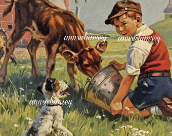 "Vintage Art Print Boy and Dog  Feed Calf, Dog Asks ""Me Too?""  #502"