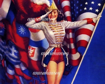 Patriotic Print WWII Restored Glamour Girl For Fourth of July, For Office  For Anywhere #504