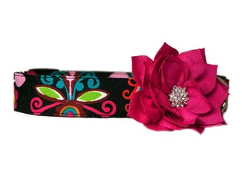 """Hot Pink Lotus Flower Accessory for 3/4"""", 1"""" or 1.5"""" Dog Collar"""