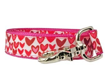 "Hearts Dog Leash 1"" wide 4' long Raspberry Pink Dog Leash"