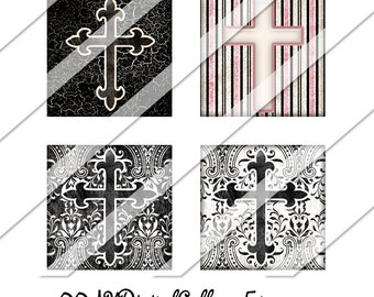Crosses Digital Collage Sheet, 1 Inch Square, Instant Download, Religious, Christian, Catholic, Pattern, Digital Image, Personalized Collage