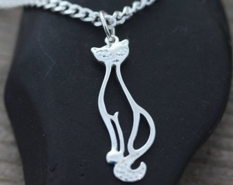 Sterling Silver Cat Necklace, Elegant Cat lovers necklace, Sterling Cat necklace, Silver cat jewelry, Exclusive Cat LifeofSilver Jewelry