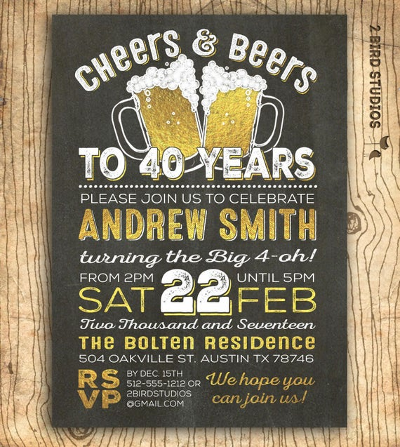 40th birthday invitation for men cheers & beers to 40 years, Birthday invitations