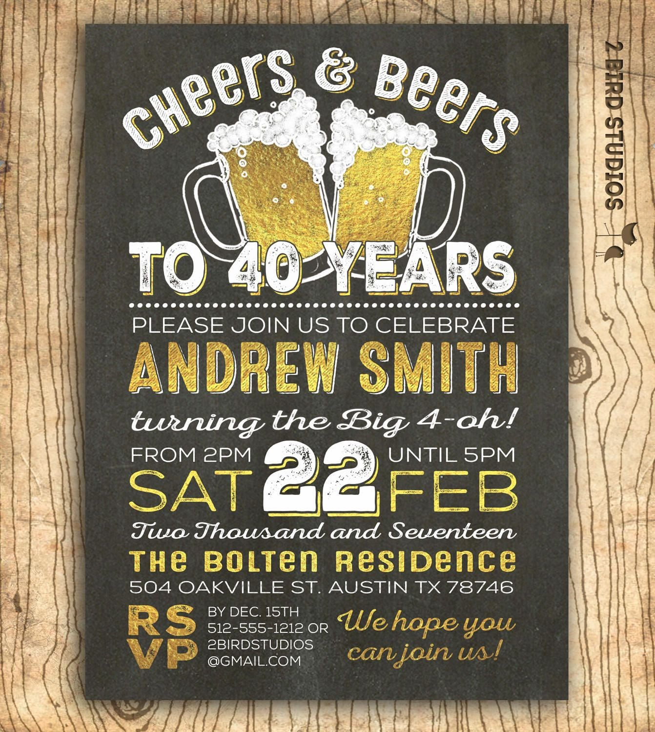 40th Birthday Invitation For Men Cheers & Beers To 40 Years