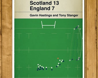 Rugby Print - Scotland 13 England 7 - Tony Stanger Try - Five Nations Grand Slam 1990 - Classic Book Cover Poster (Various Sizes Available)
