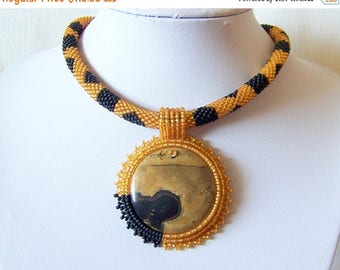 15% SALE Beadwork Bead Embroidery Pendant Necklace with Chinese Painting Jasper Stone - BLACK GOLD - Fall Fashion - black and gold necklace