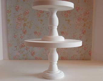 """Ready To Ship 2 Wood Cake Stands / 7"""" and 10 inch White cake stands /  Cake pedestals / Wedding cake stands / Bride and Groom Cake Stands"""