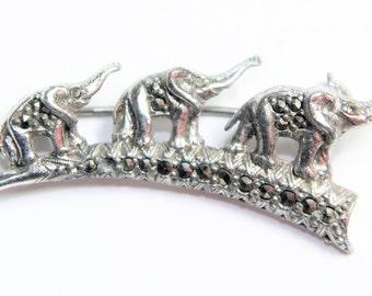 Marcasite Silver Coloured Elephants Trio Vintage Brooch (c1940s)