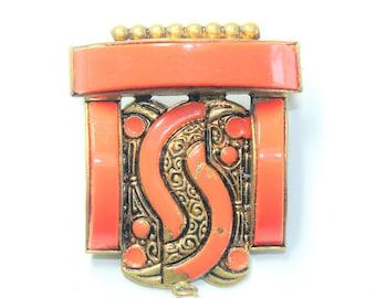 Art Deco Orange Enamelled Brass Small Brooch/Pendant (c1930s)