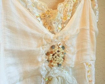 Lace And Pearl Beaded Camisole With Sequins