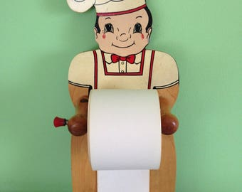 Vintage 1950s Wooden Chef Paper Roll Note Holder for Kitchen