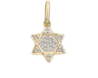 14k Diamond Mogen David Pendant Charm, 14k Diamond Star of David Pendant Charm, 14k Diamond Bat Mitzvah Charm, Wedding Gift