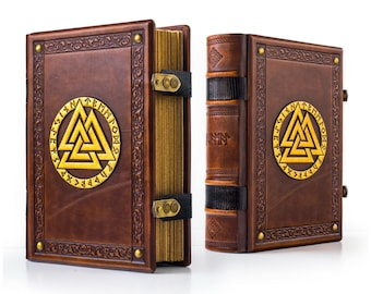 "8"" x 10"" - Valknut Large Leather Journal - Norse Runes - Viking journal - Norse Gods - Tree of Life - Havamal"