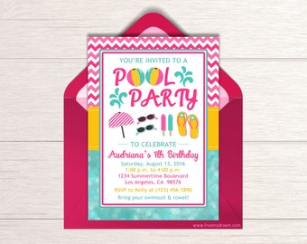 Girls Pool Party Birthday Invitation - Printable Pool Party Invitation - Pink Pool Party Invite - Pool Party Birthday Package - BP08