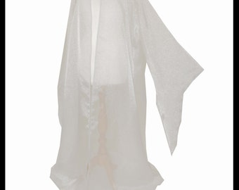 Beautiful Silver Shimmer Organza Cloak with Sleeves. Ideal for a Summer Wedding, Handfasting or Medieval Event. Made Especially For You.
