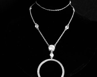 Eternity necklace CZ necklace sterling pendant sterling necklace stocking stuffer secret santa for her