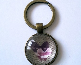Heart Keyring, Pink Striped Two Heart Keychain with a Glass Pendant, Antique Bronze Keyring, Double Heart Fabric Keyring