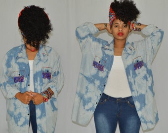 Revamped Bleached Blue Jean Top w/ Hand Beading Details