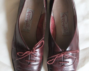 Vintage 70's Pappagallo Burgundy Leather Oxford Flats Women's size 8