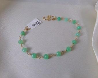 Chrysoprase gold filled link bracelet gemstone handmade  item 936